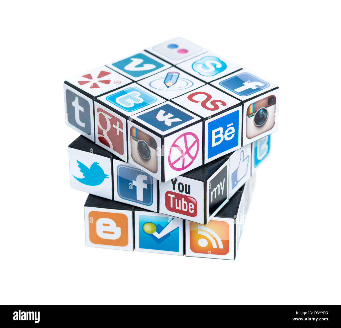 A rubik's cube with logotypes of well-known social media brand's. - Stock Image