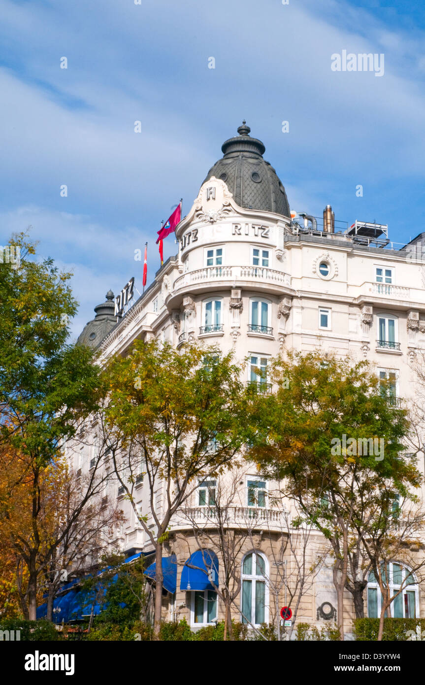 Facade of Ritz Hotel. Madrid, Spain. - Stock Image