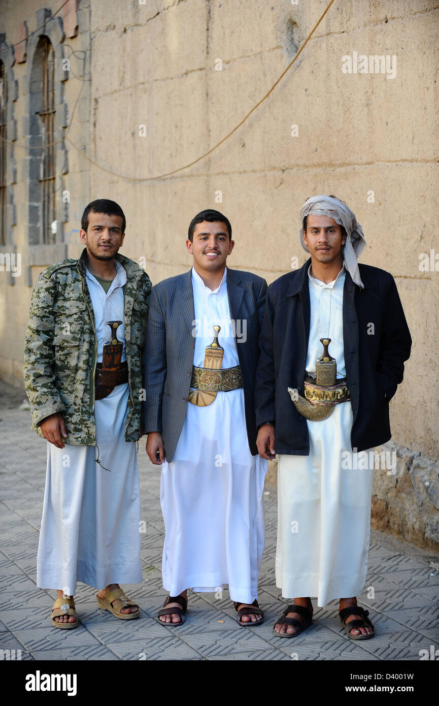 Three Yemani men on the streets of Sana'a, capital City of ...