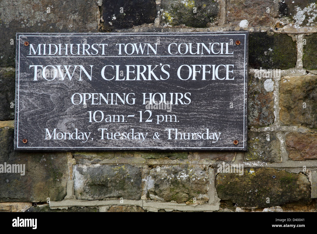 the town clerks office in midhurst in west sussex - Stock Image