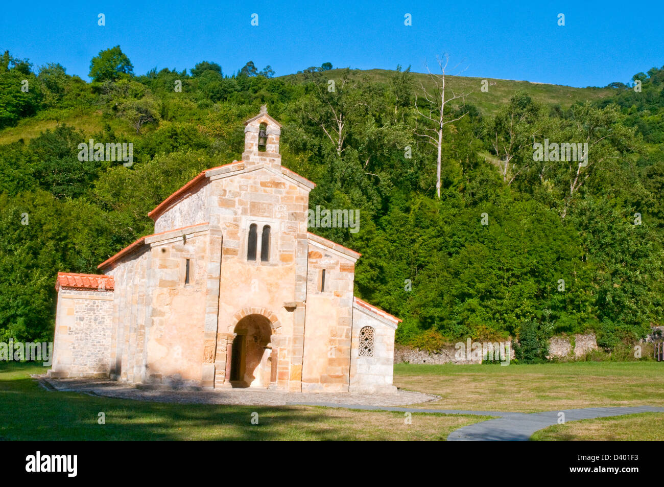 San Salvador monastery. Valdedios, Asturias, Spain. - Stock Image