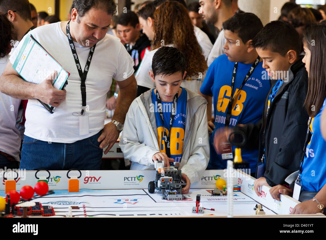 Schoolchildren at a Lego robotics competition on Tenerife, Canary Islands, Spain. - Stock Image