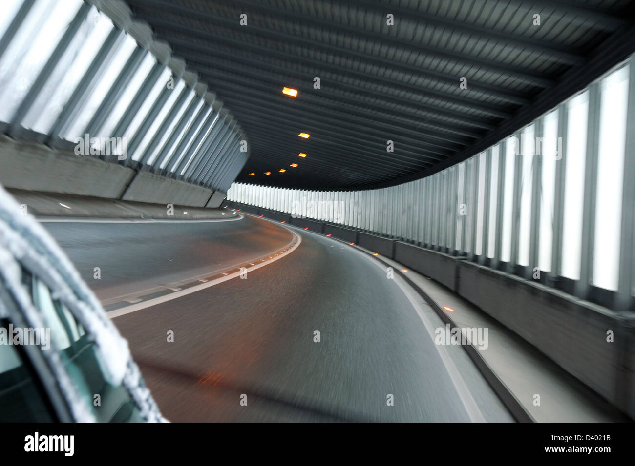detail of car tunnel illuminate with day light - Stock Image
