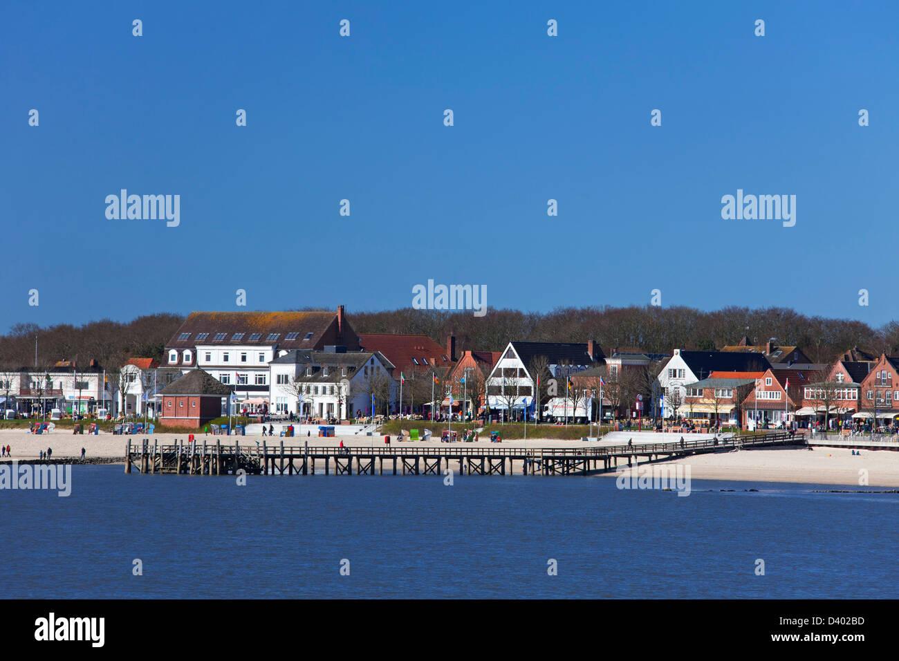 Beach of seaside resort at Wyk auf Föhr, Schleswig-Holstein, Germany - Stock Image