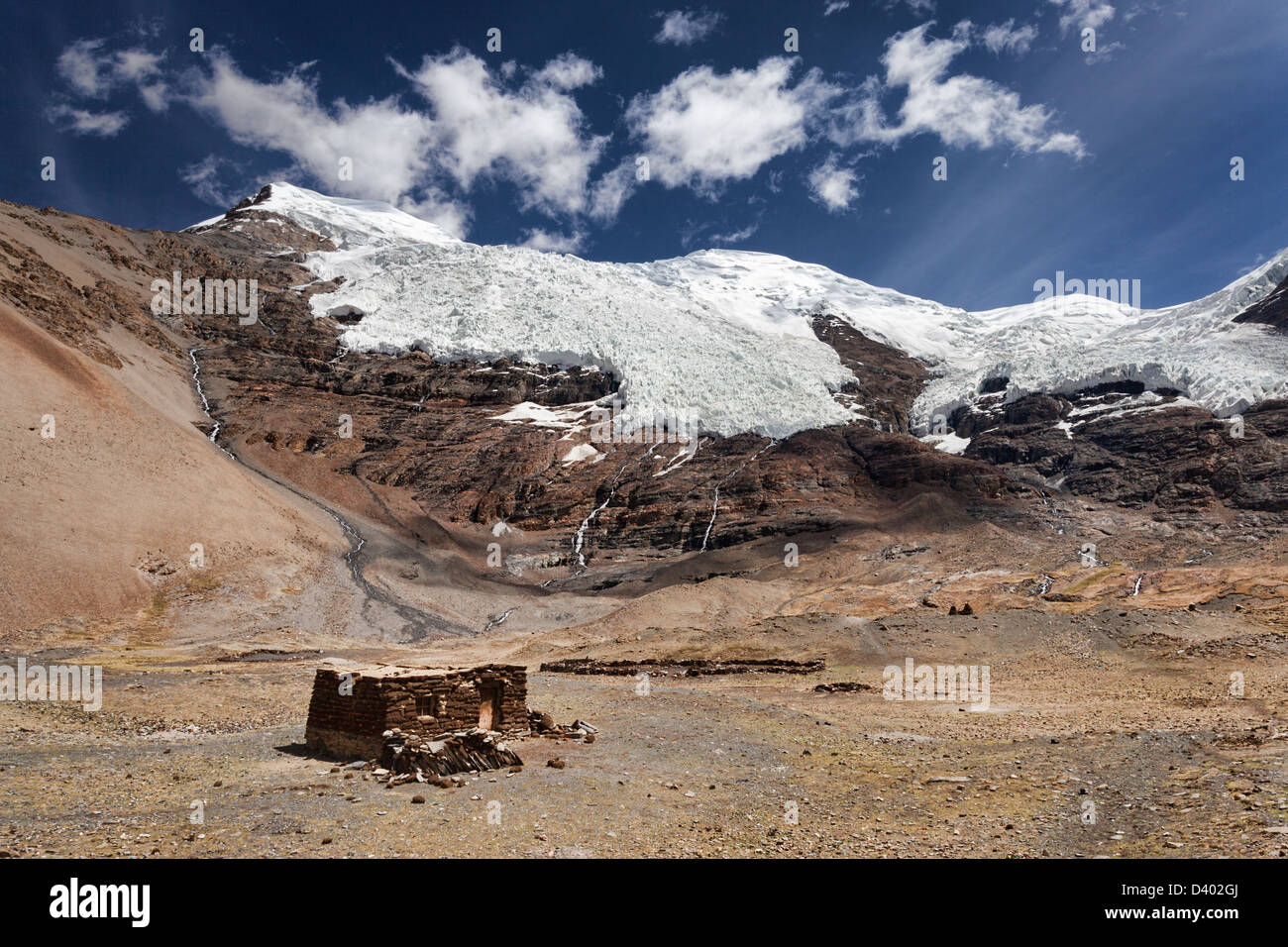 Karola Glacier and Shepherd's Shelter near Gyantse, Tibet Stock Photo