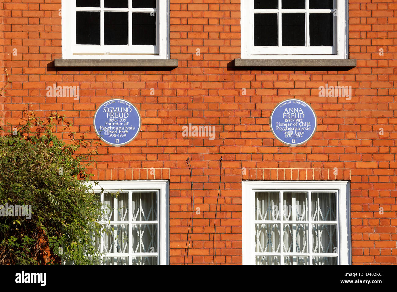 Blue plaques of Sigmund Freud and Anna Freud are pictured on The Freud Museum in Hampstead, North London on February - Stock Image