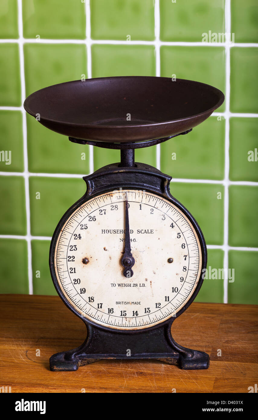 Old mechanical Pan Scales in a Kitchen Stock Photo