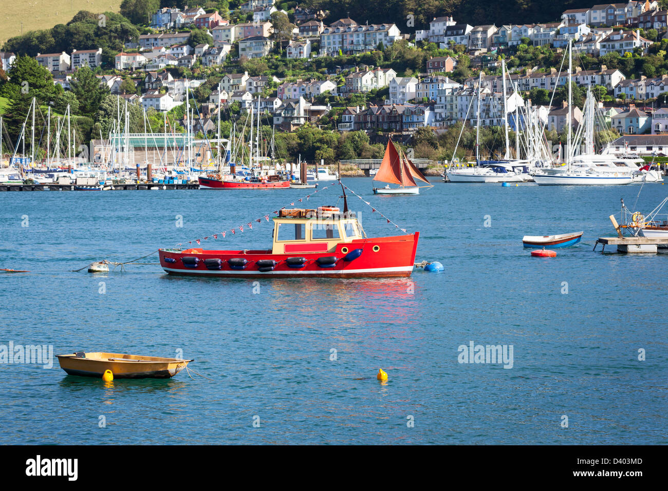 Boats on the river Dart in Dartmouth, South Devon. The town of Kingswear can be seen in the background. - Stock Image