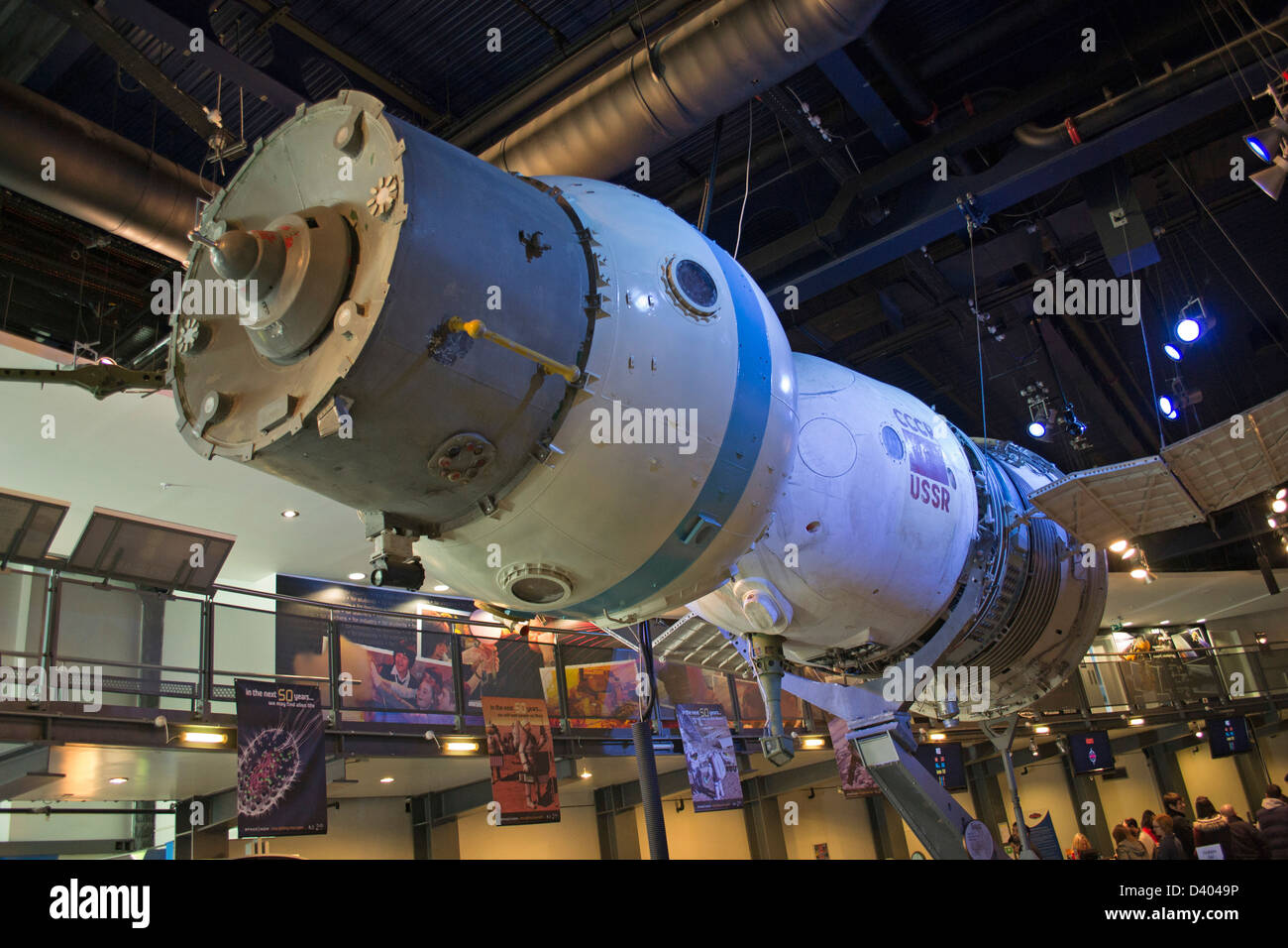 Russian Soyuz spacecraft on display inside the National Space Centre, Leicester, England, UK - Stock Image
