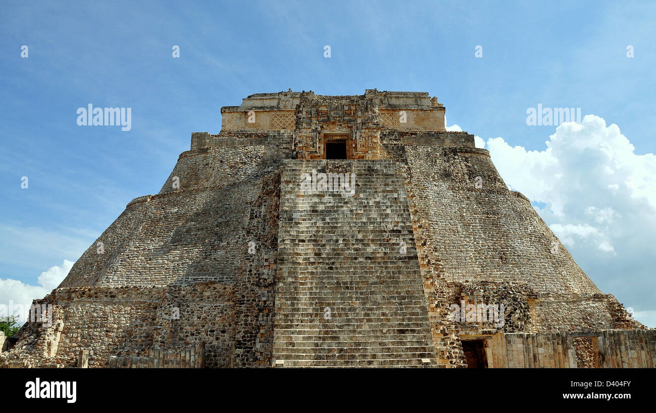 The Pyramid of the Magician - Uxmal, Yucatan, Mexico Stock Photo