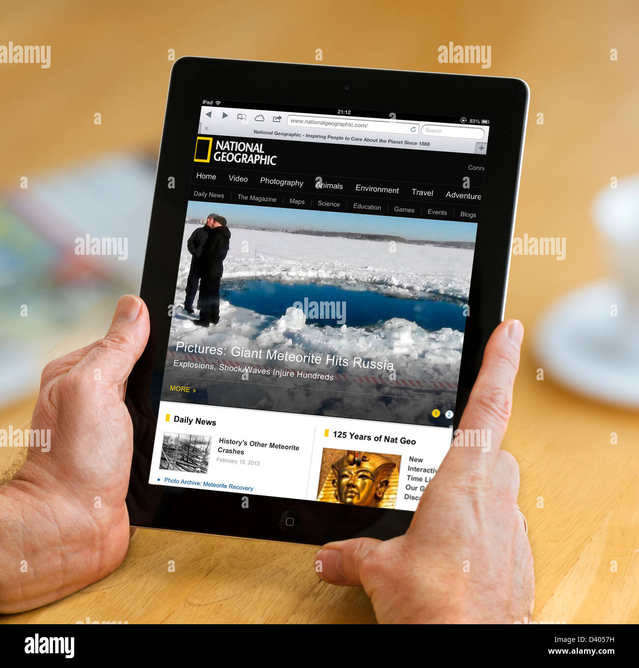 National Geographic website viewed on a 4th Generation iPad - Stock Image