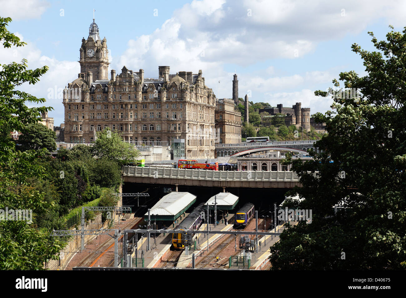 View looking East over Waverley Station and Bridge towards the Balmoral Hotel in Edinburgh city centre, Scotland, - Stock Image
