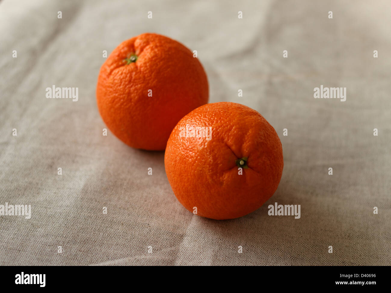 Two oranges on a linen cloth background - Stock Image
