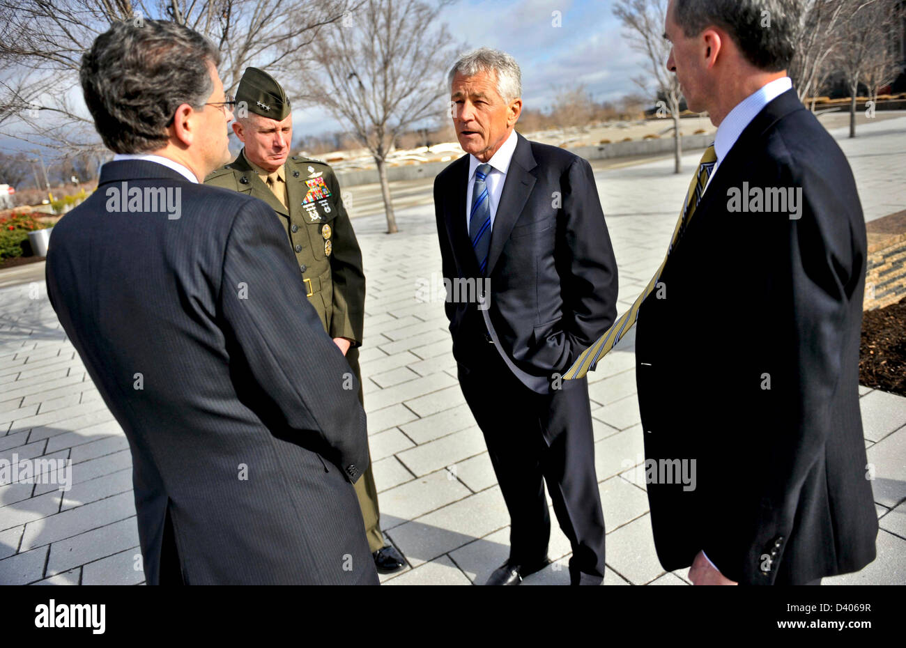 Newly sworn in 24th Secretary of Defense Chuck Hagel is given a tour of the Pentagon 9-11 Memorial by Michael L. - Stock Image