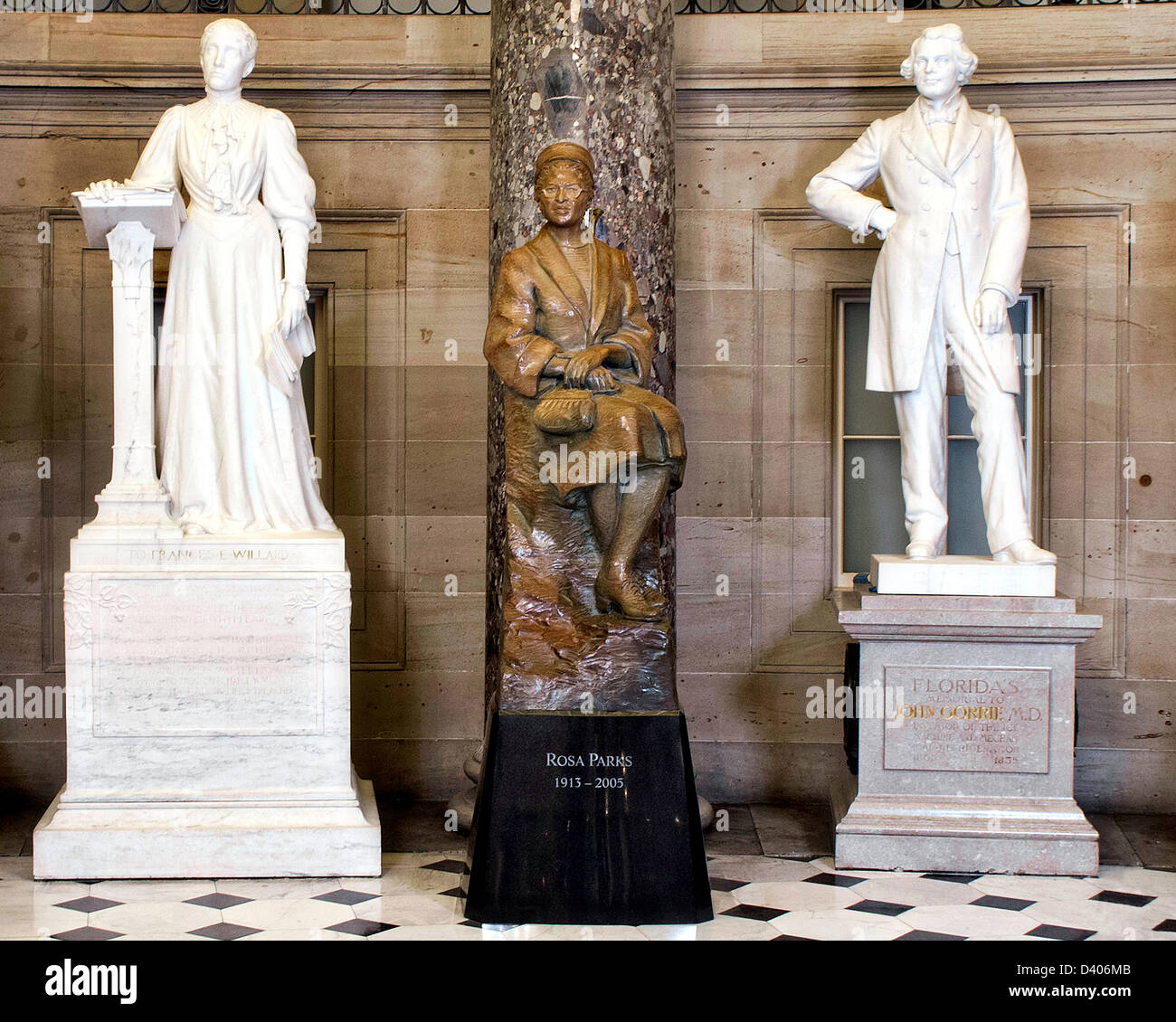 A statue of civil rights activist Rosa Parks stands in National Statuary Hall in the United States Capitol after Stock Photo