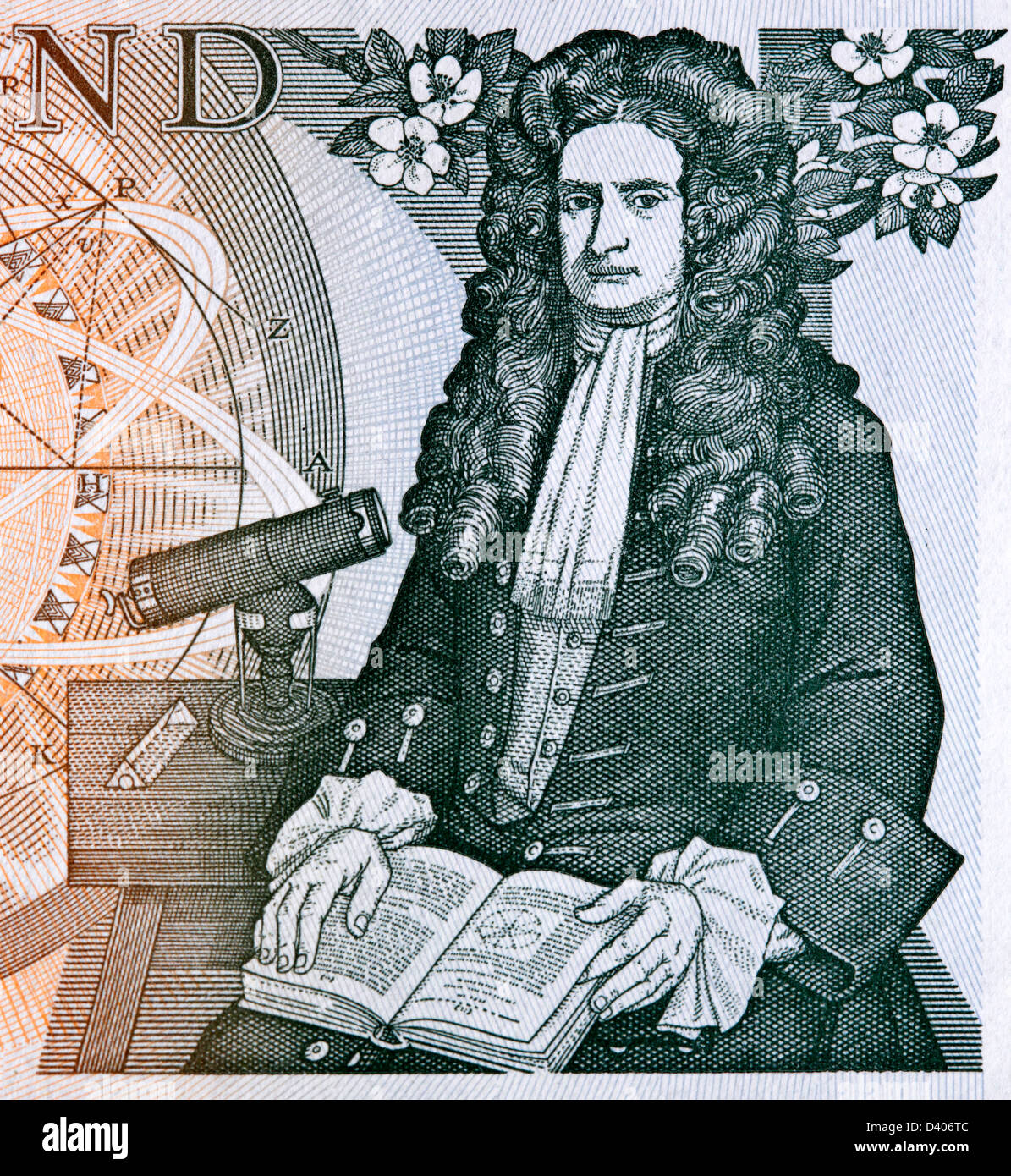 Portrait of Sir Isaac Newton from 1 Pound banknote, UK, 1978 Stock Photo