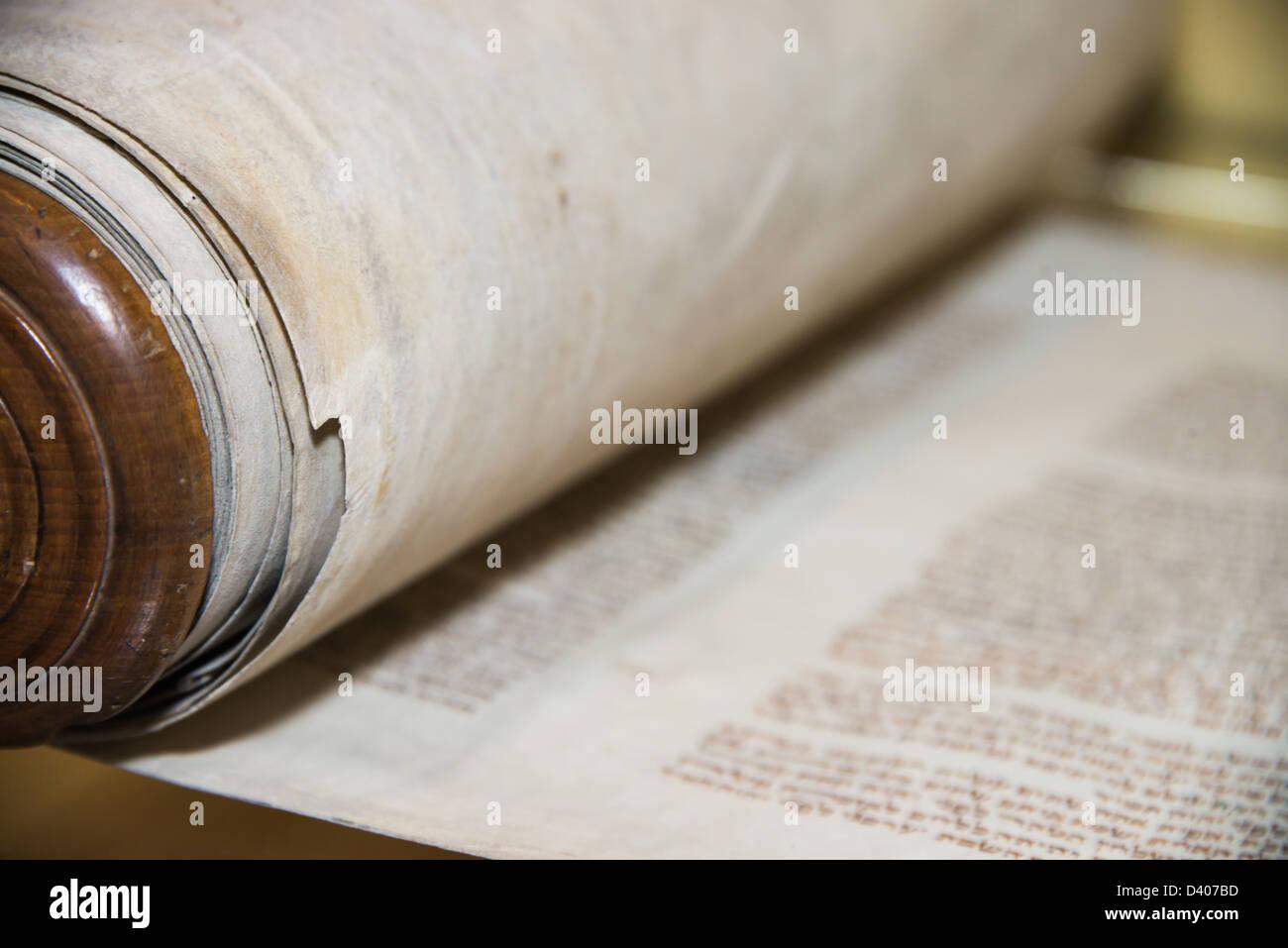 Torah /ˈtɔːrə/; Hebrew: תּוֹרָה - Stock Image