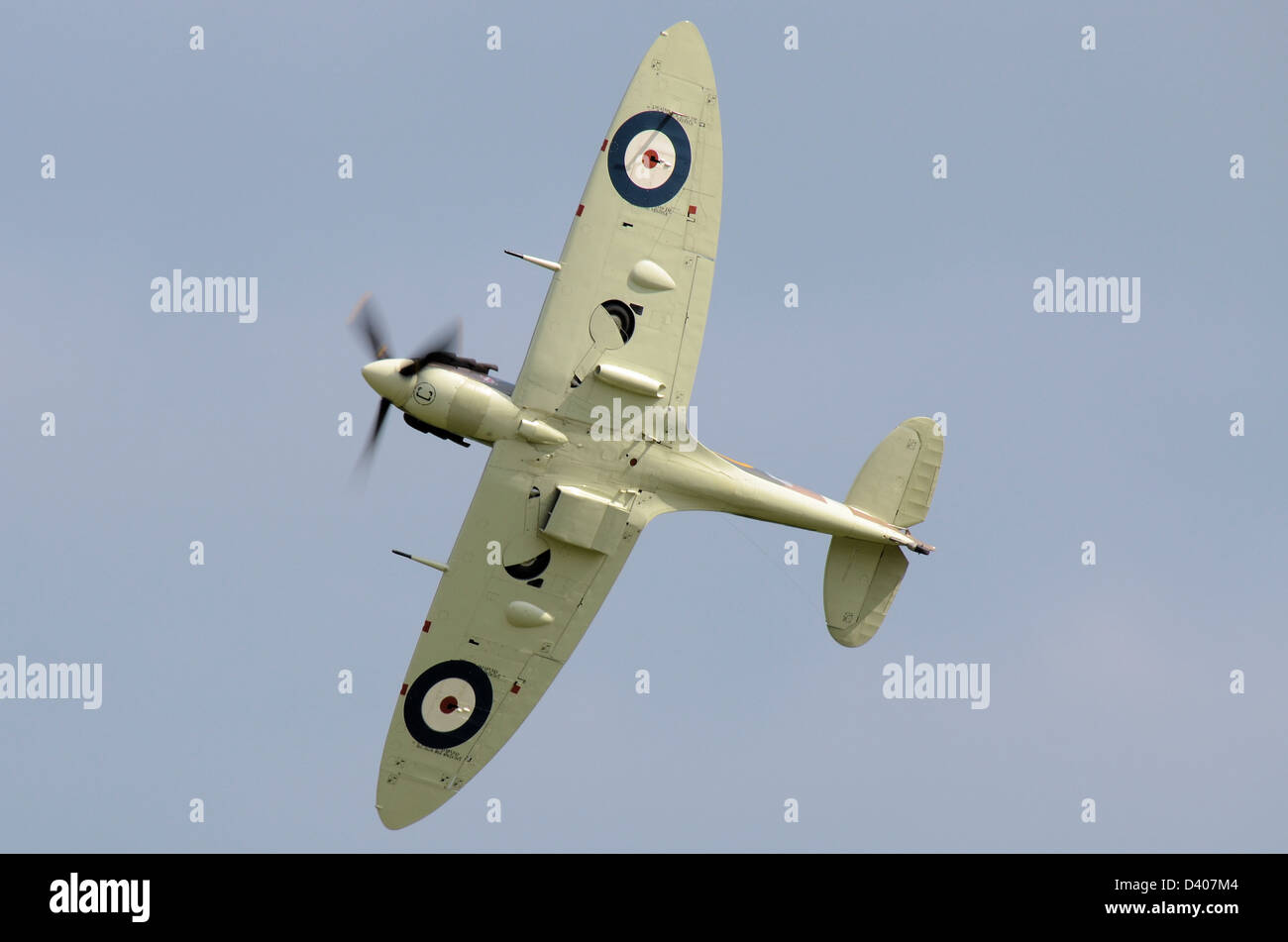 Spitfire V banking away to show its classic elliptical wing profile and RAF roundels and radiator configuration - Stock Image