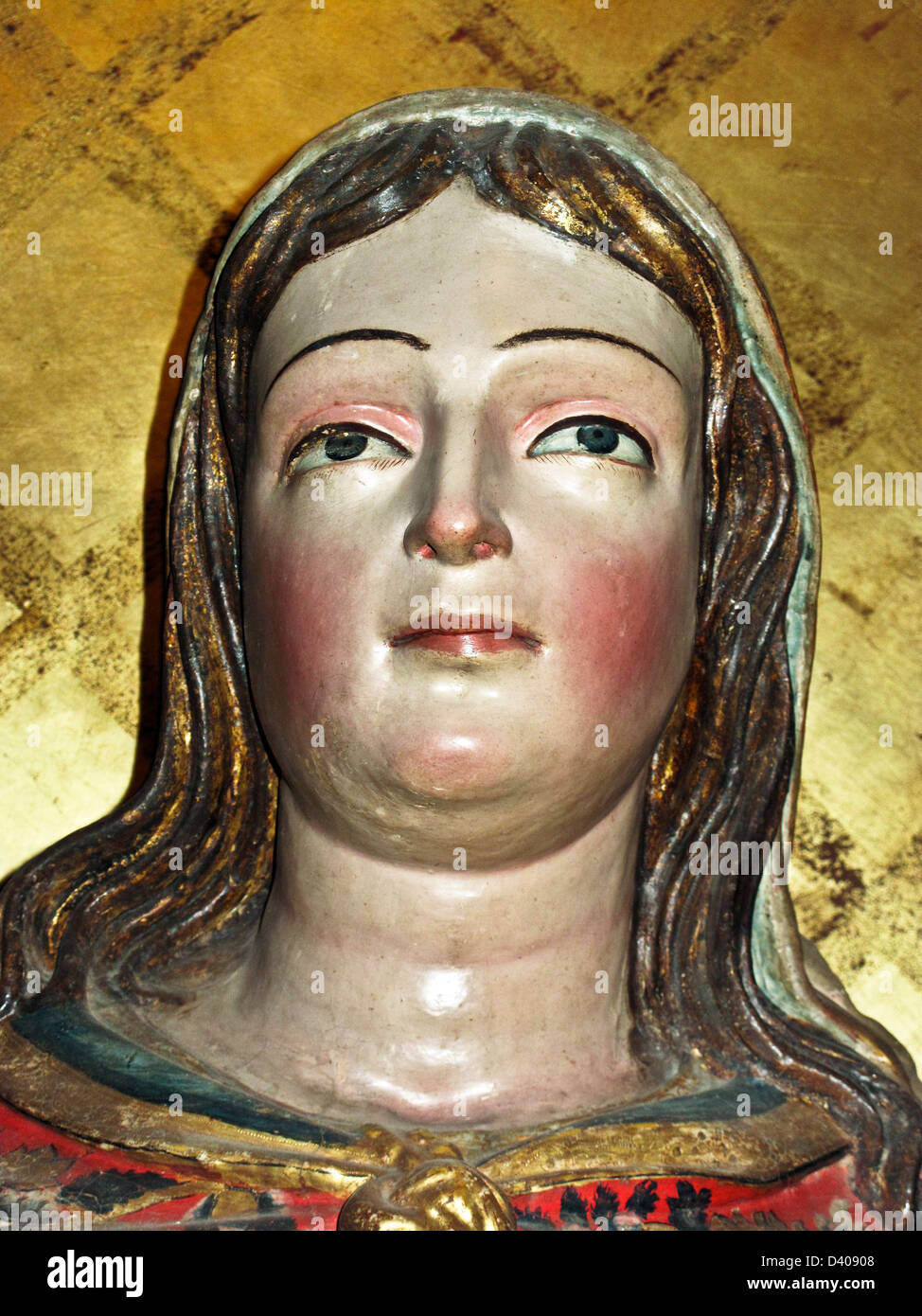 polychrome gilded 17th century plaster figure statue Santa Lucia displayed in Museum of Oaxacan Cultures Oaxaca - Stock Image