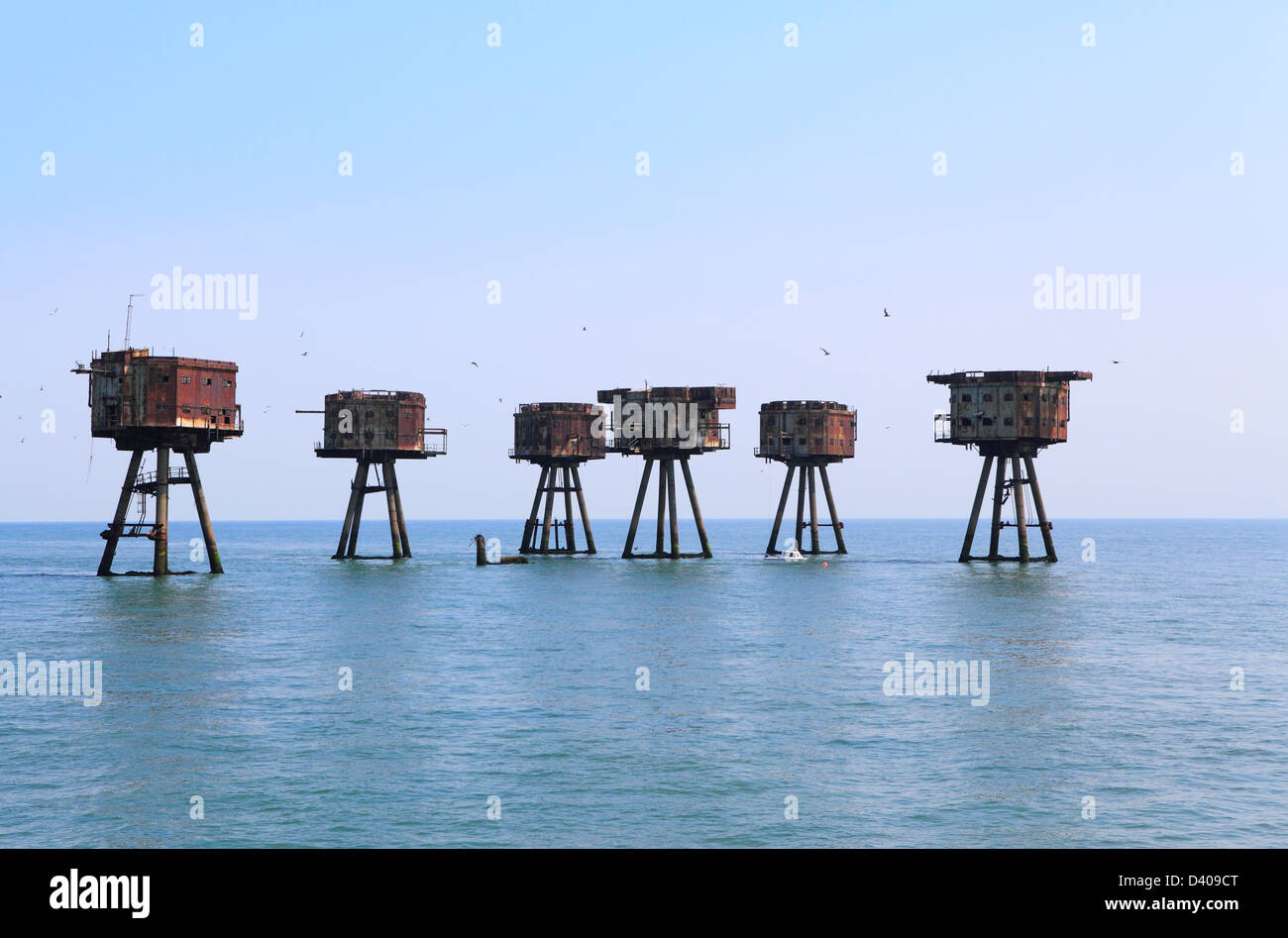 Red Sands wartime forts in Thames Estuary England UK GB - Stock Image
