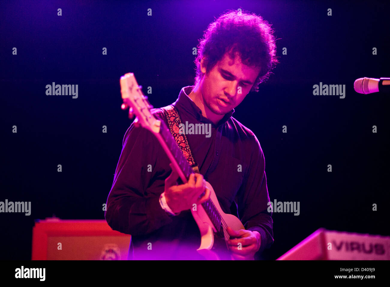 Omar Rodriguez Lopez performing with Bosnian Rainbows at Bottom Lounge in Chicago. - Stock Image