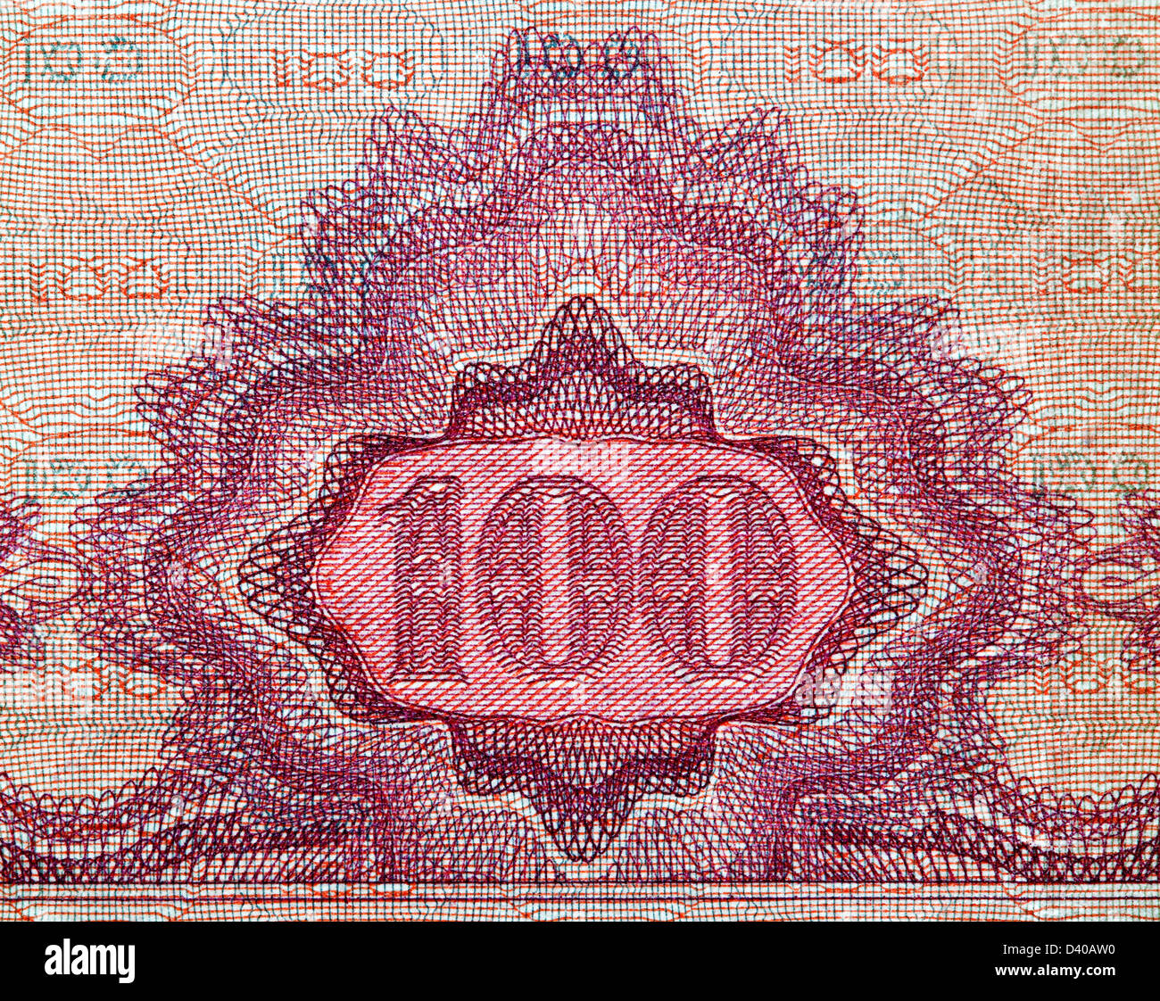 Number 100 from 100 Pengo banknote, Hungary, 1930 - Stock Image