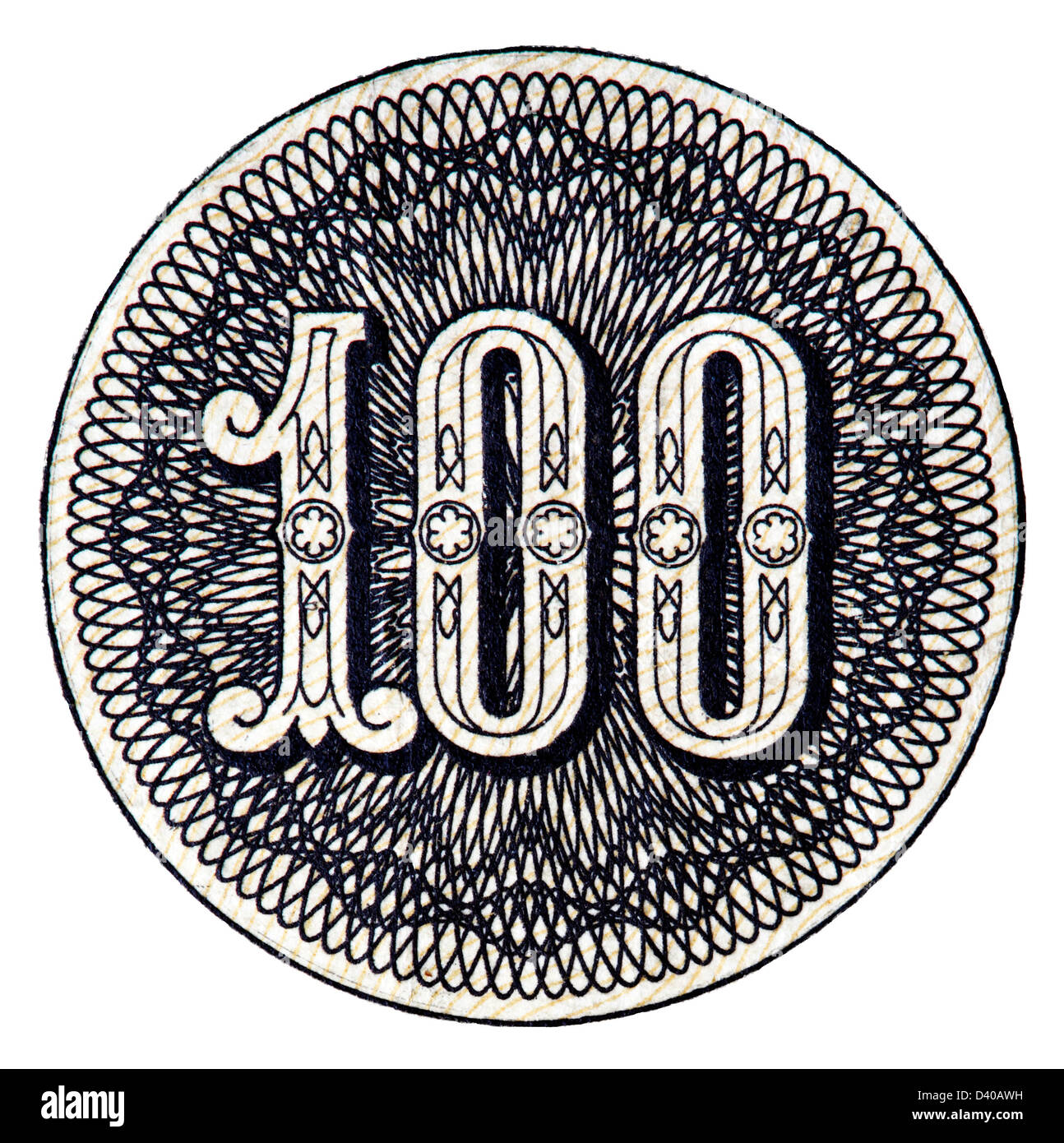 Number 100 from 100 Rubles banknote, on white background, Russia, 1910 - Stock Image