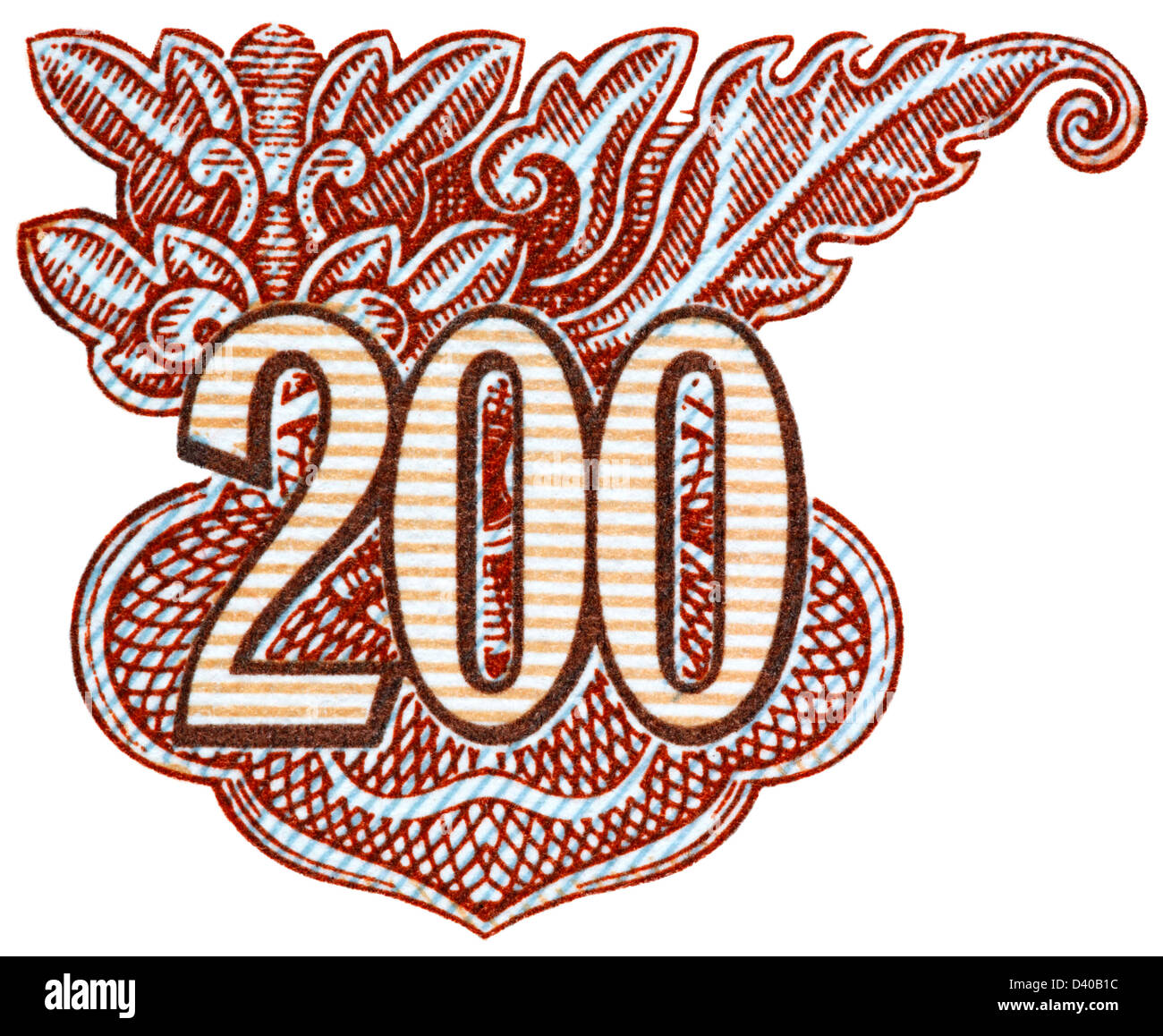 Number 200 from 200 Dong banknote, Vietnam, 1987, on white background - Stock Image
