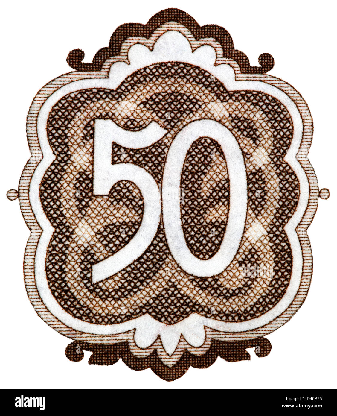 Number 50 from 50 Leva banknote, Bulgaria, 1951, on white background - Stock Image
