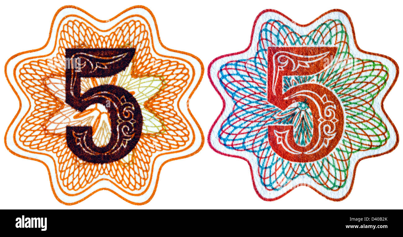 Number 5 from 5 Tenge banknote, Kazakhstan, 1993, on white background - Stock Image