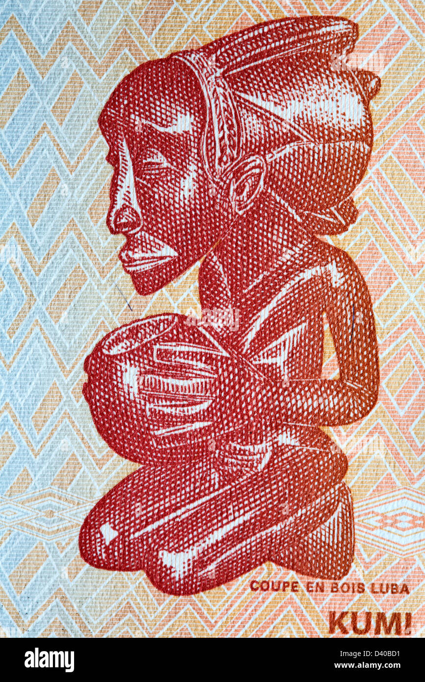 Tribal art from 10 Francs banknote, Congo, 2003 - Stock Image