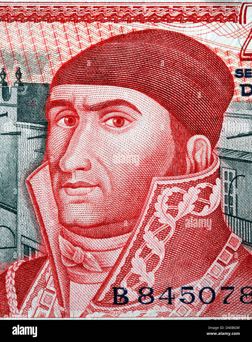 Portrait of Jose Morelos y Pavon from 20 Pesos banknote, Mexico, 1977 Stock Photo