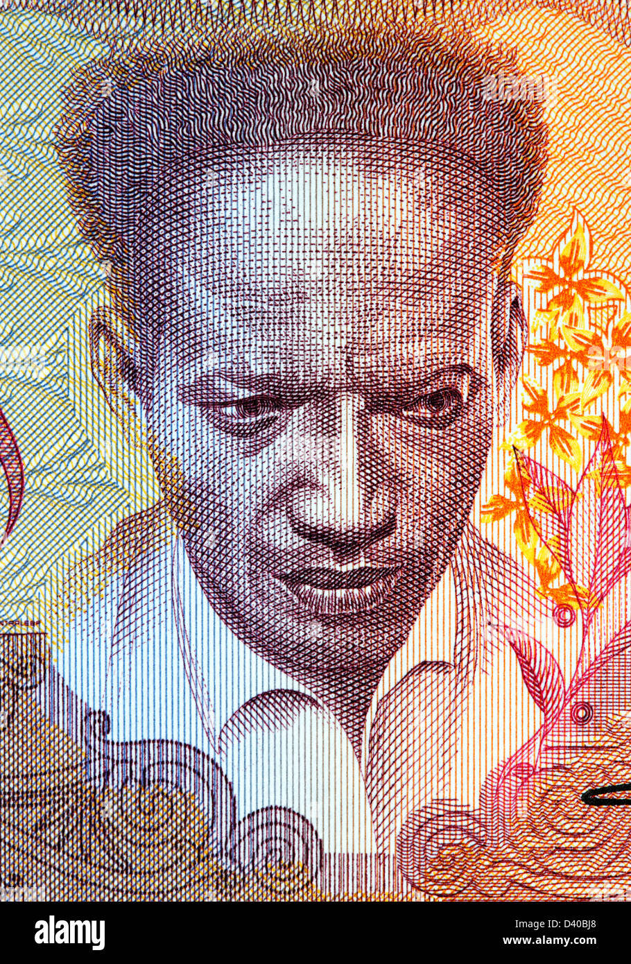 Portrait of Anton De Kom from 100 Gulden banknote, Suriname, 1988 - Stock Image
