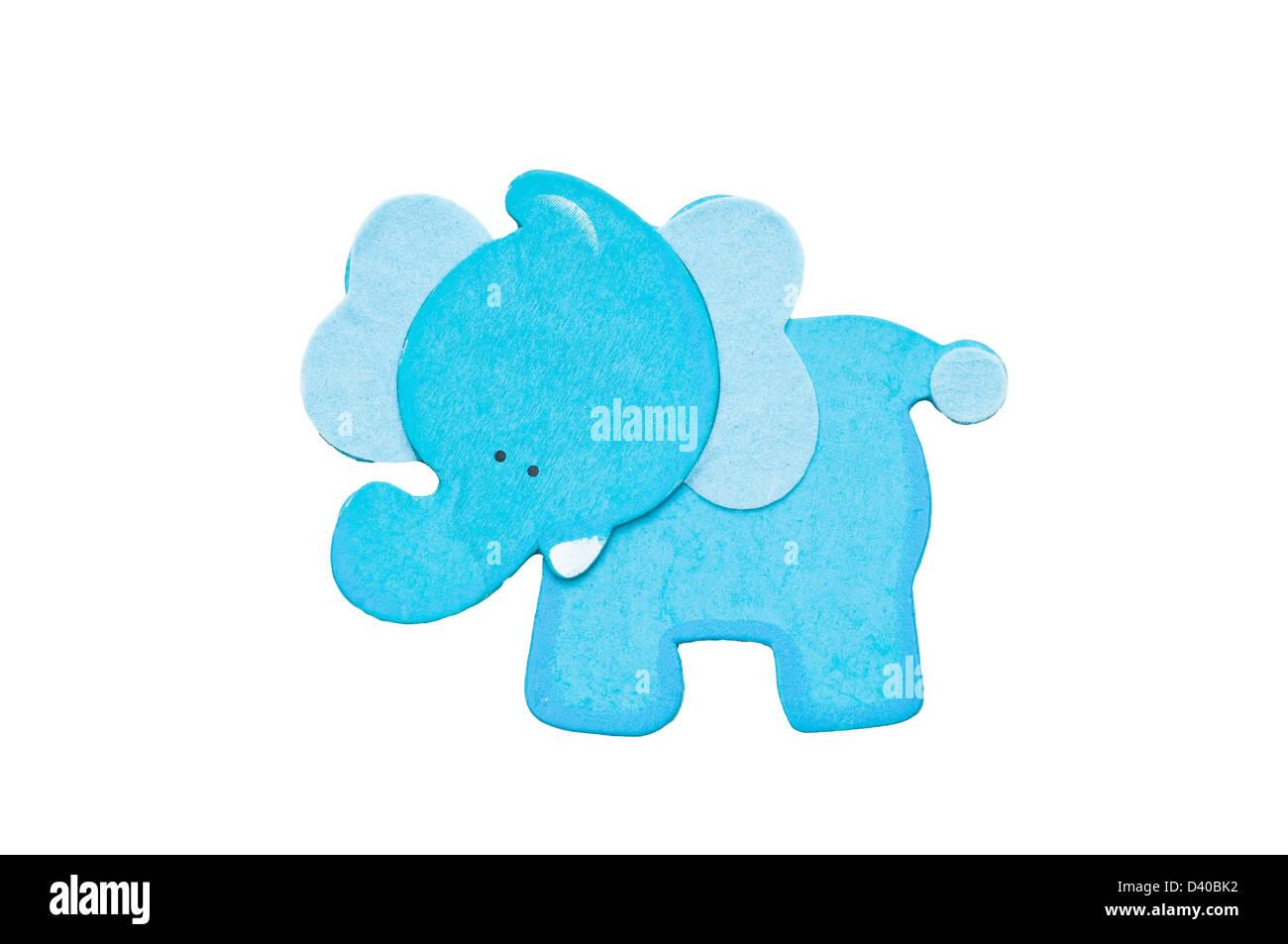 Blue elephant isolated on - Stock Image