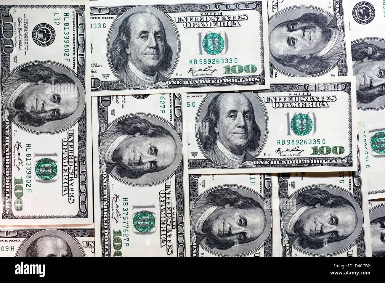 Mosaic made of 100 US Dollars banknotes - Stock Image