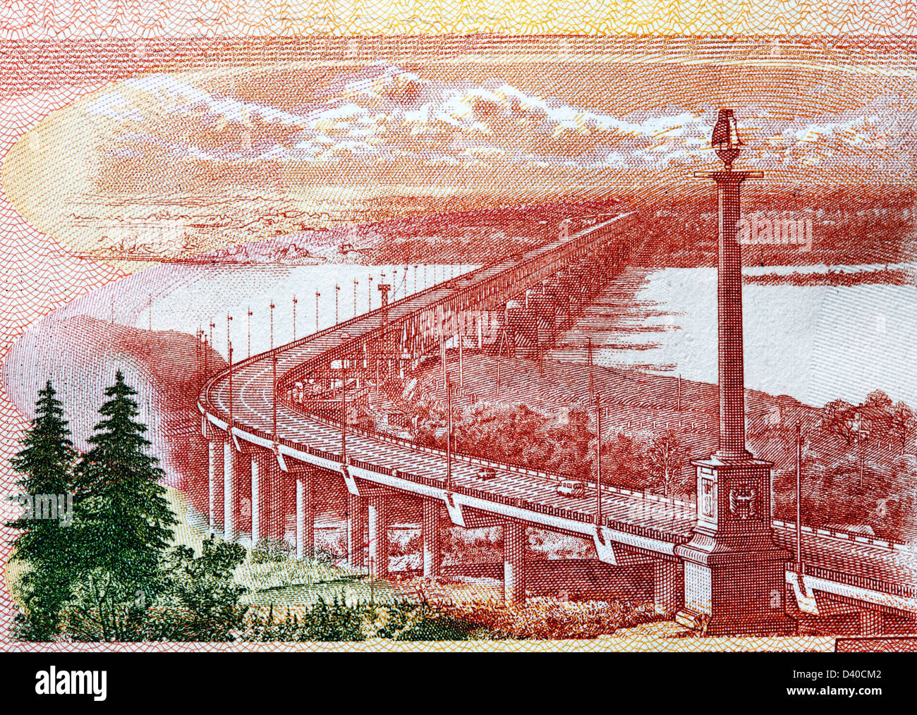 Khabarovsk Bridge over the Amur river from 5000 Rubles banknote, Russia, 2010 - Stock Image