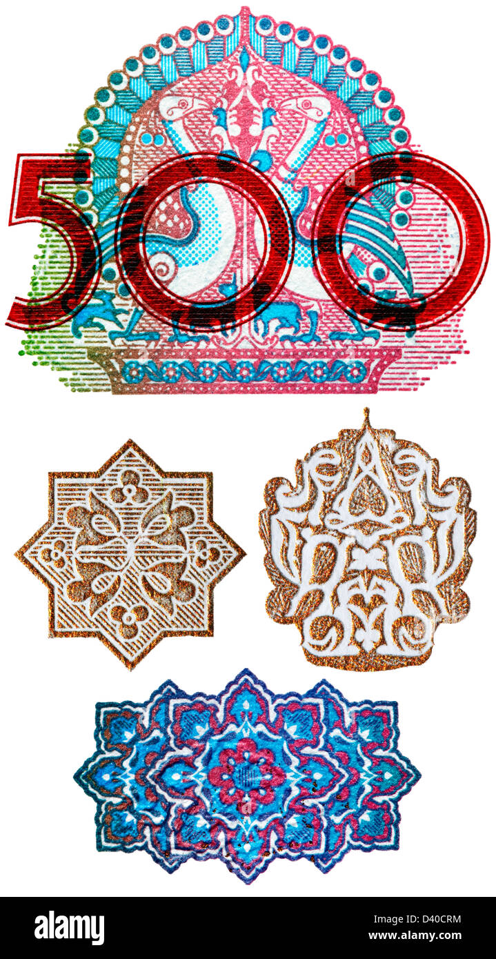 Number 500 and Oriental designs from 500 Som banknote, Uzbekistan, 1999, on white background - Stock Image