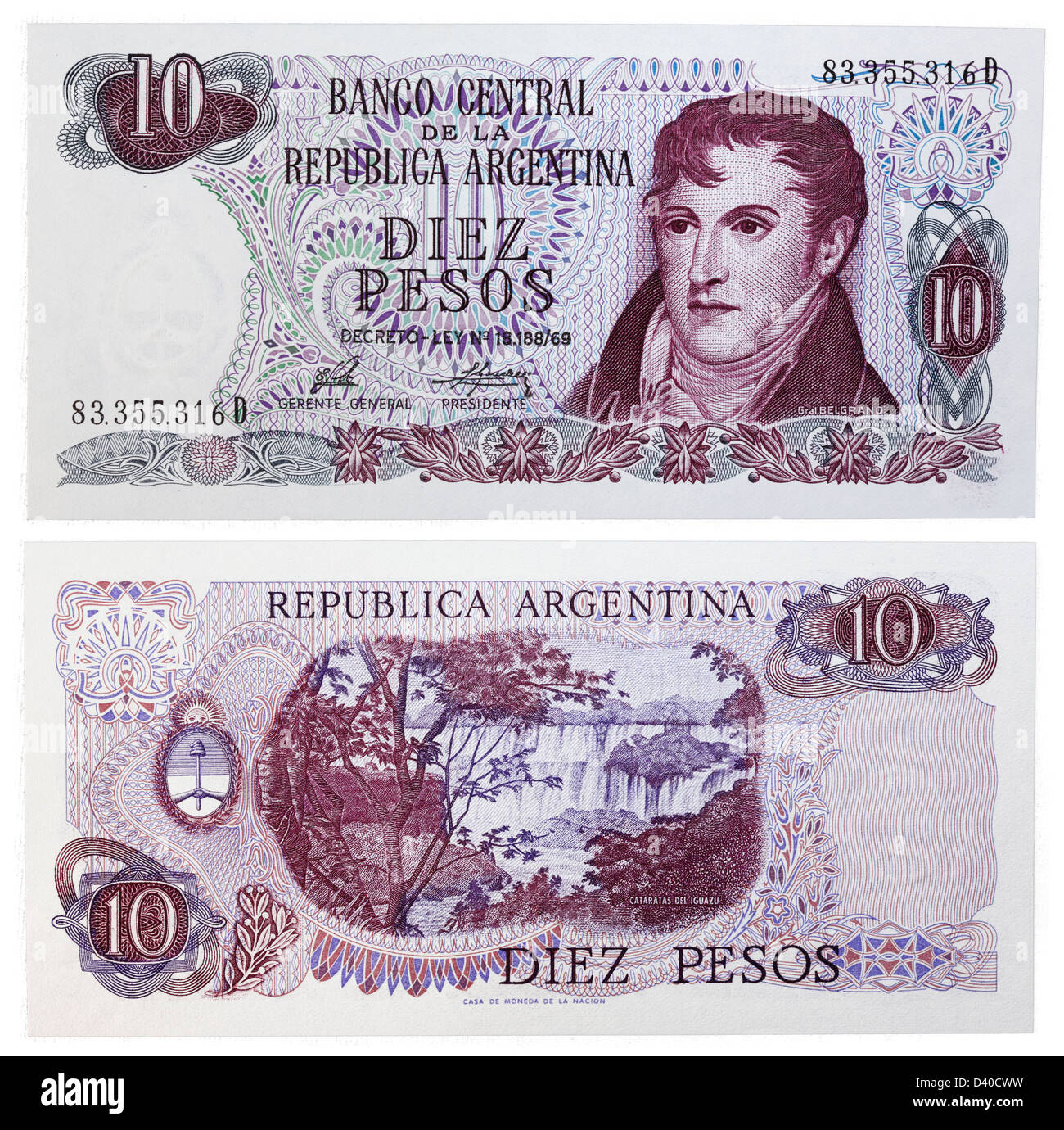 10 pesos banknote (General Manuel Belgrano and waterfall at Iguazu), Argentina, 1973 - Stock Image