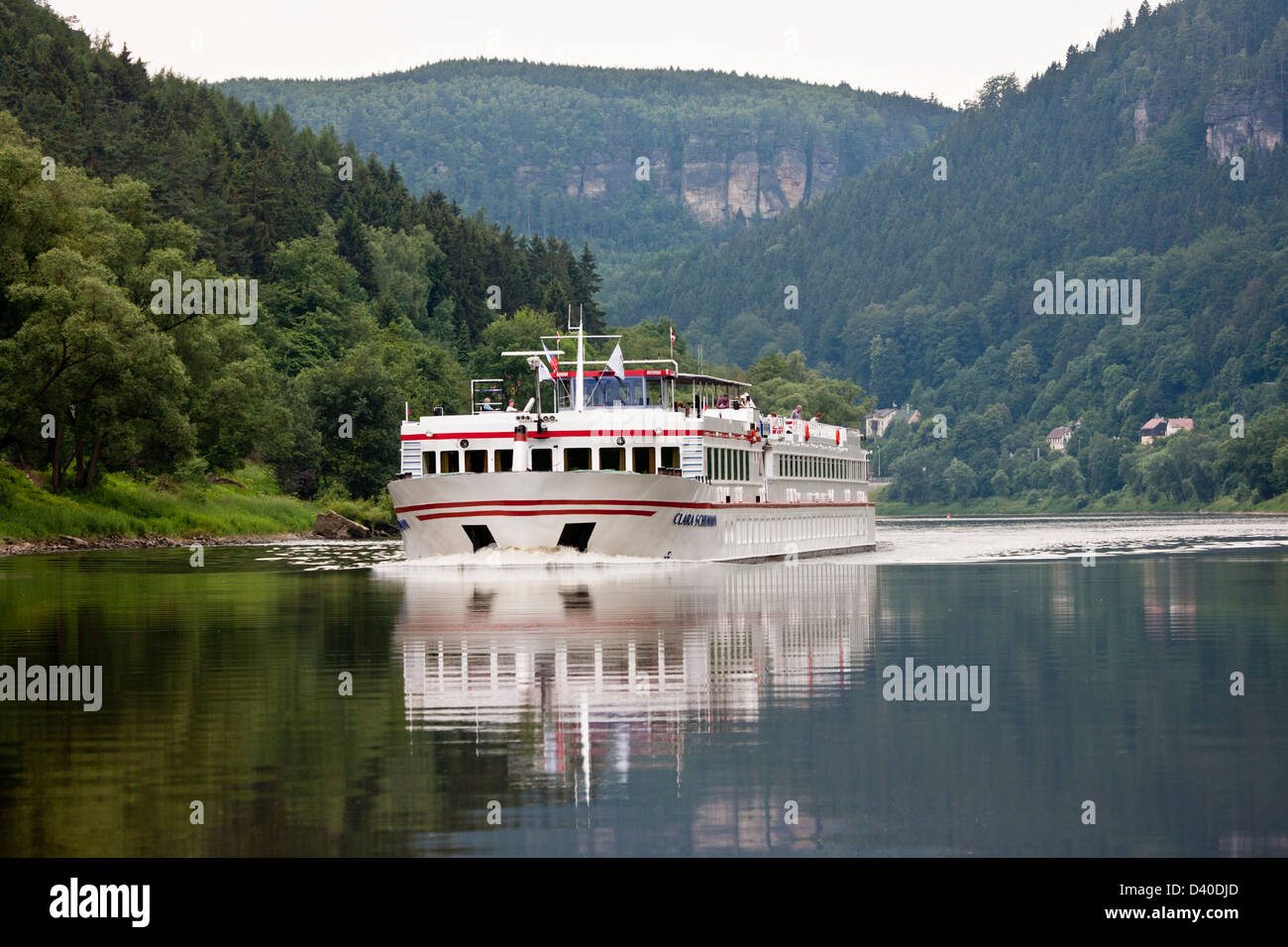 A cruising ship on the Danube in Austria - Stock Image