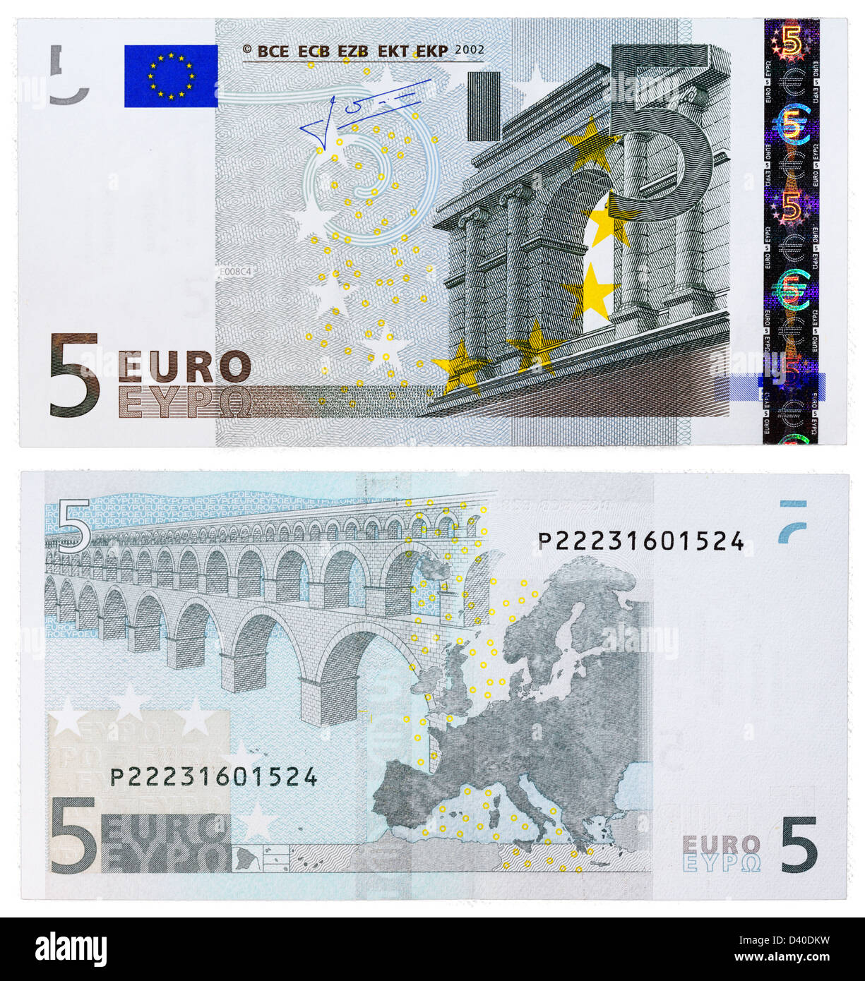 5 Euro Banknote Classical Architecture And Bridge 2002