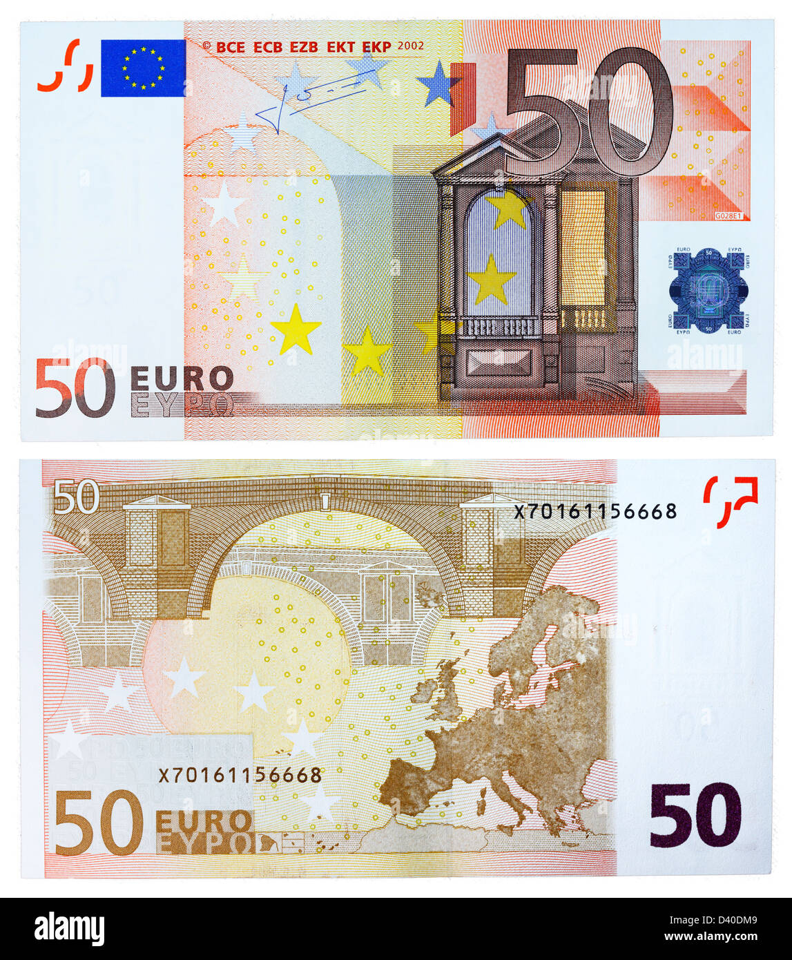 50 Euro banknote, Renaissance architecture and bridge, 2002 - Stock Image