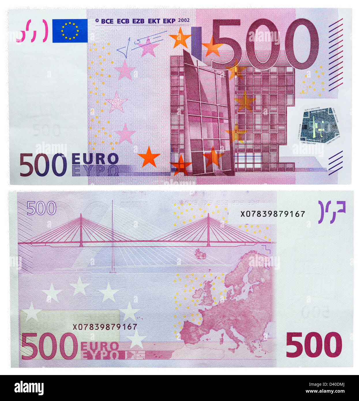 500 Euro banknote, Modern architecture and bridge, 2002 - Stock Image