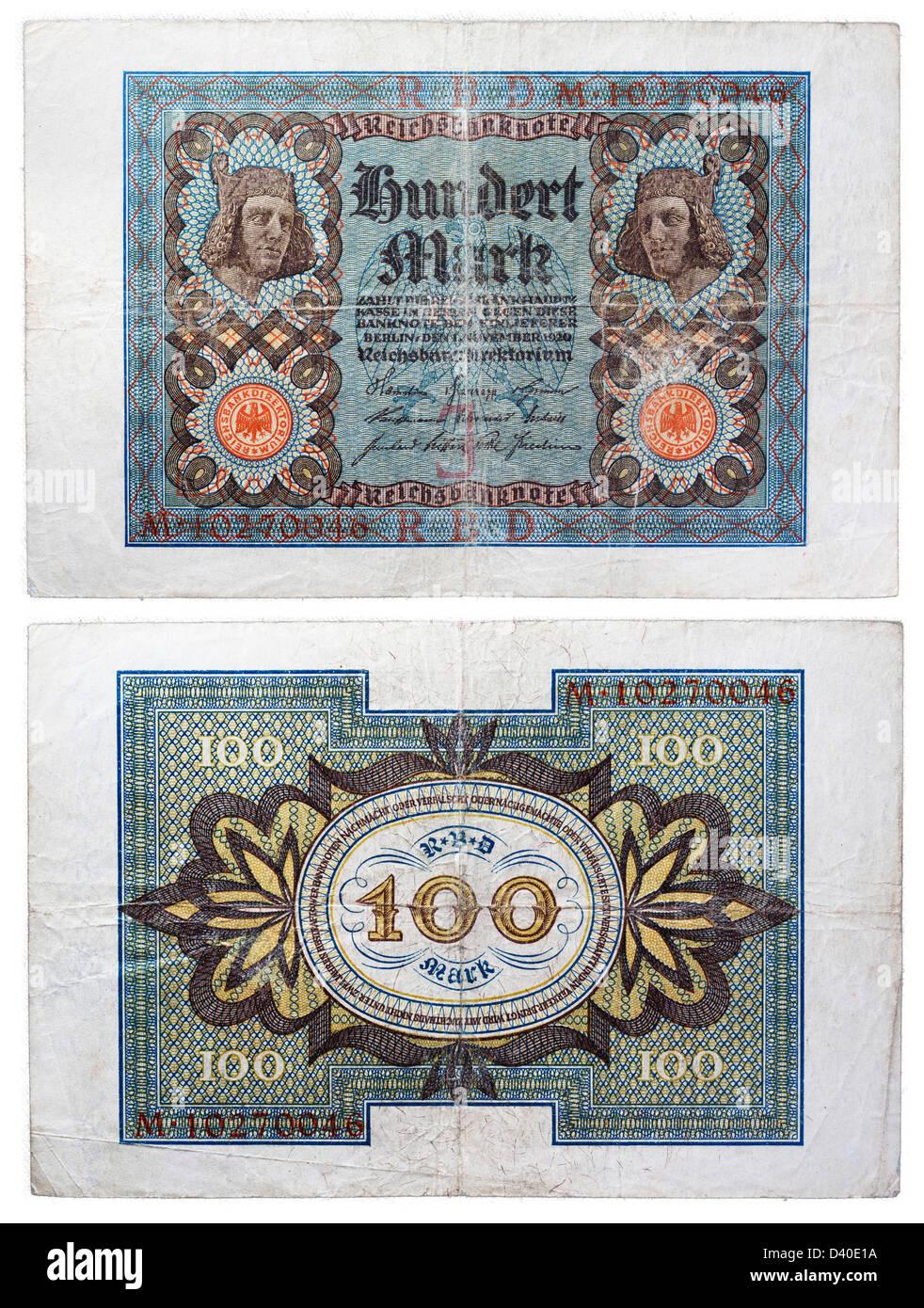 100 Mark banknote, Germany, 1920 Stock Photo