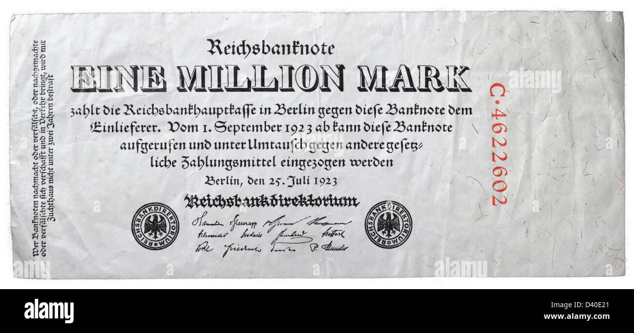 1 Million Mark banknote, Germany, 1923 Stock Photo