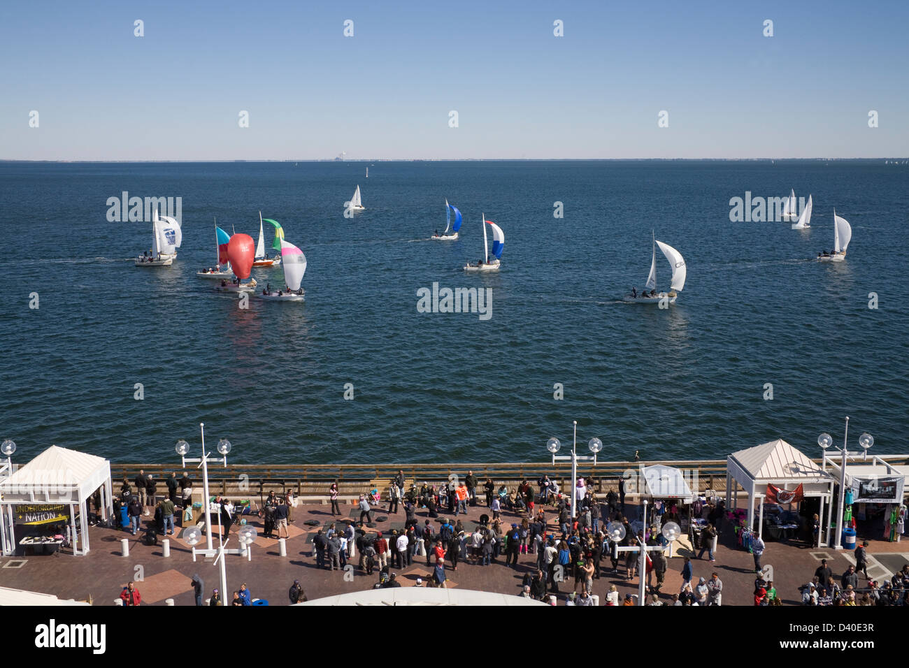 St Petersburg Florida USA Looking down on the Crossfit Challenge competitors at the end of the Pier with yacht regatta - Stock Image