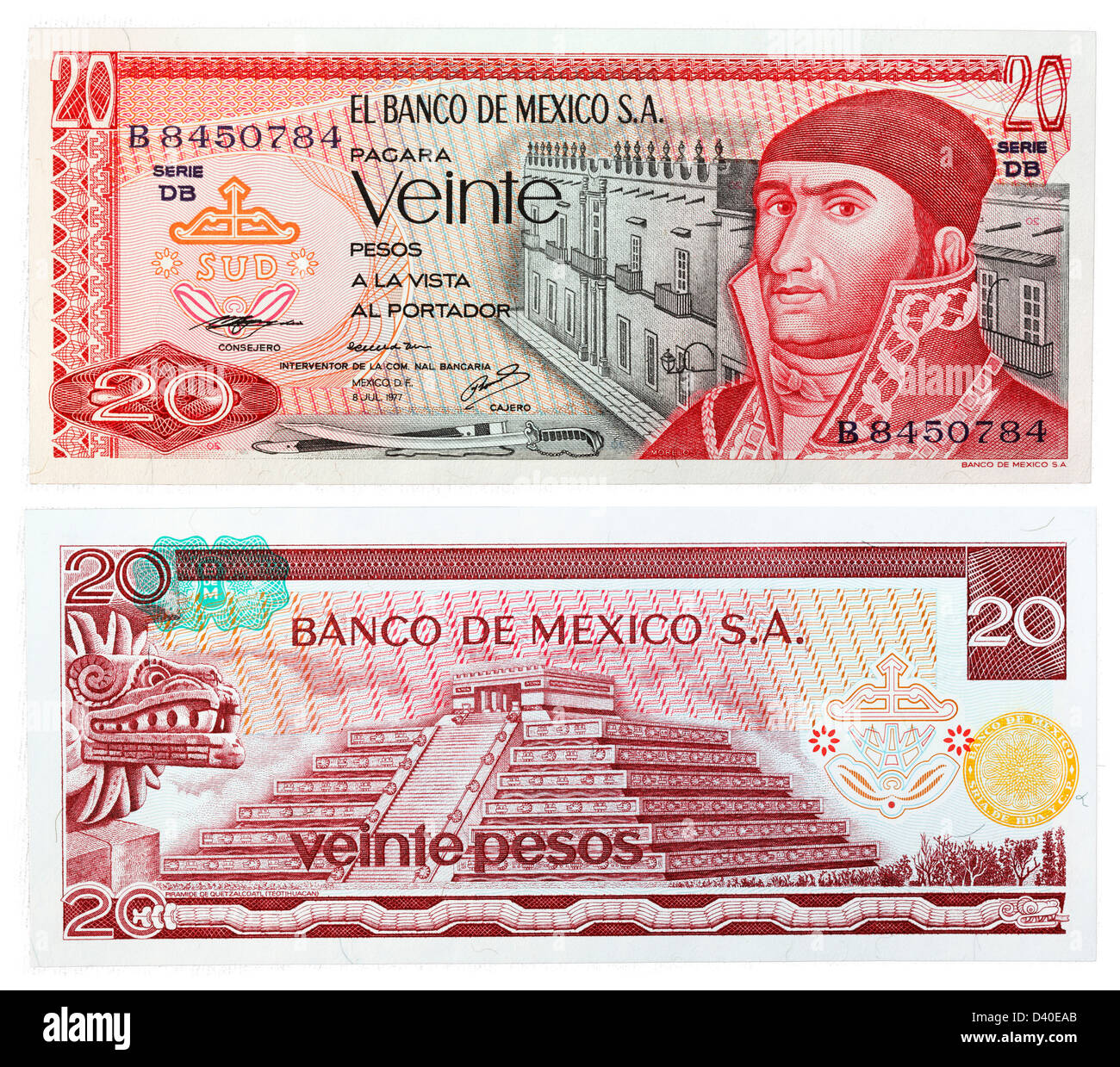 20 Pesos banknote, Jose Morelos y Pavon and Pyramid of Quetzalcoatl, Mexico, 1977 Stock Photo