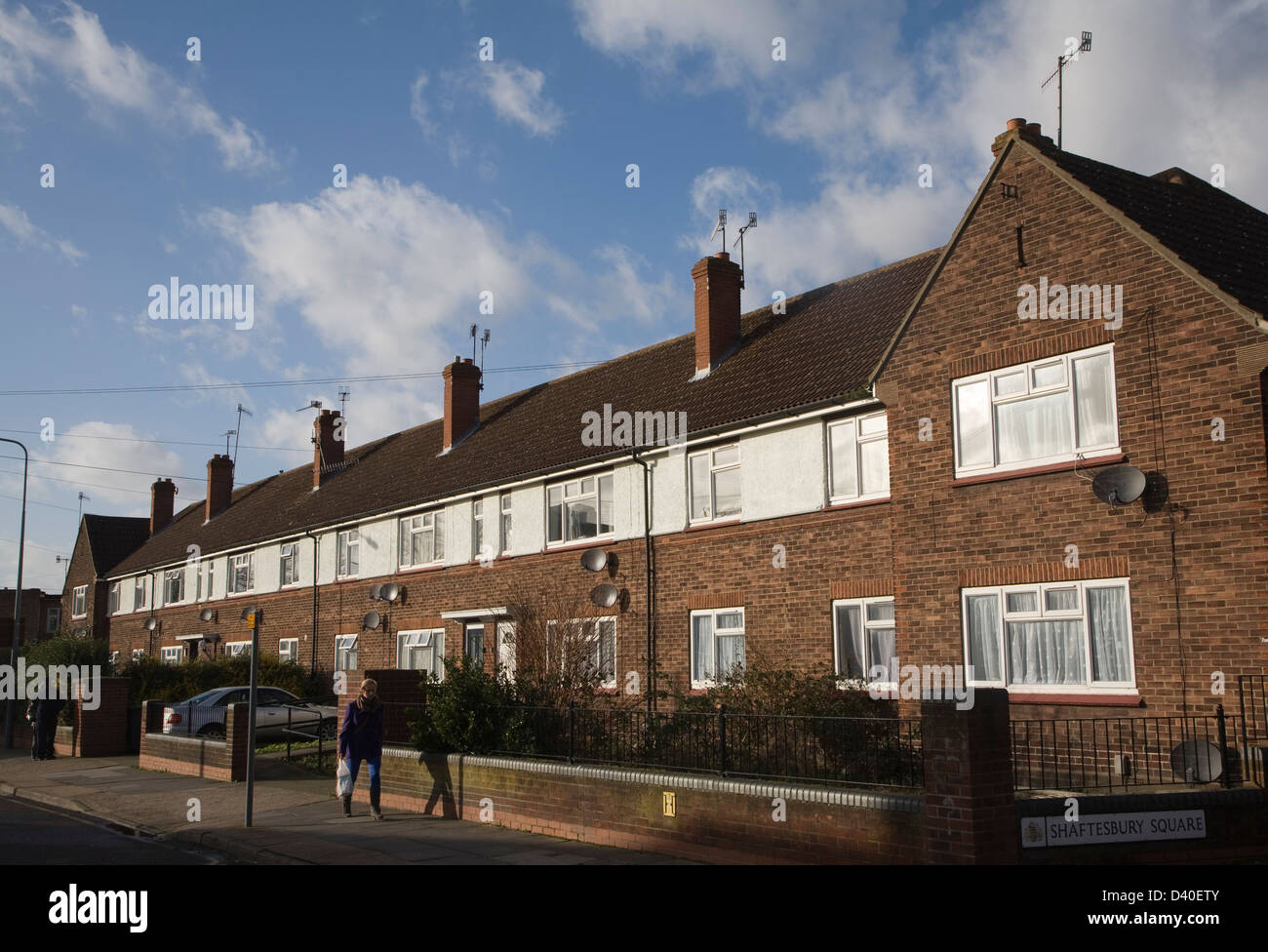Inner city council housing, Shaftesbury Square, Ipswich, Suffolk, England - Stock Image