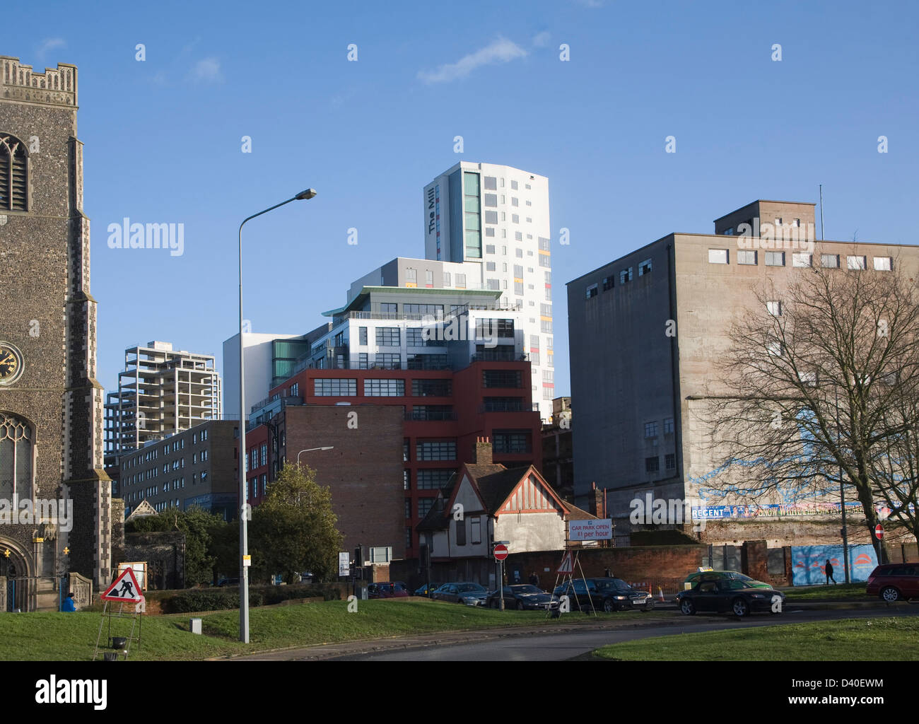 New and old mixed use buildings in Zone in Transition near the Wet Dock, Ipswich, Suffolk, England - Stock Image