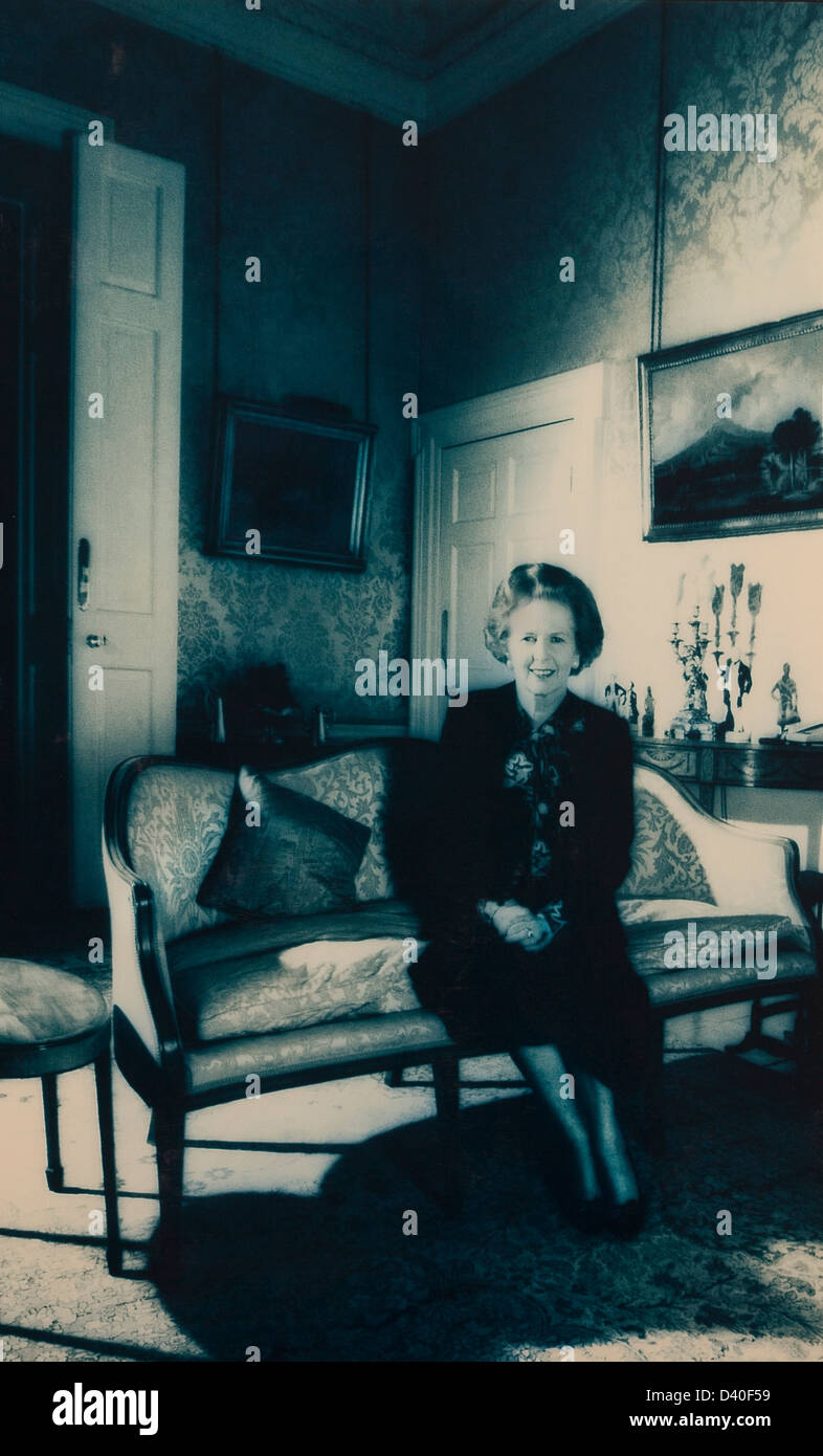Margaret Thatcher Prime Minister at 10 Downing street London 1987 - Stock Image