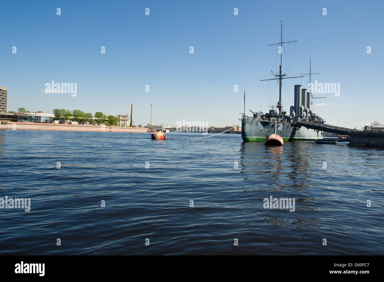 Cruiser Aurora as a symbol of the revolution in Russia - Stock Image